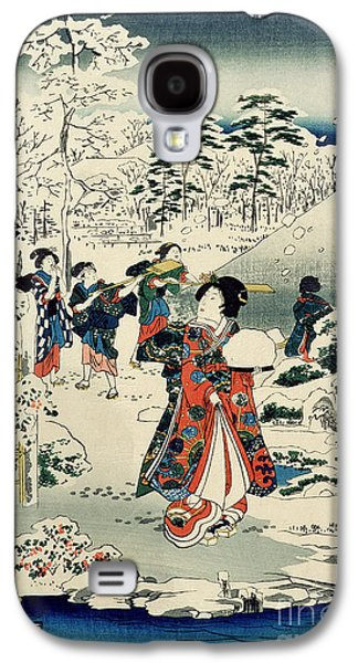 Snow-covered Landscape Galaxy S4 Cases - Maids in a snow covered garden Galaxy S4 Case by Hiroshige