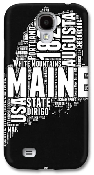 Maine Black And White Map Galaxy S4 Case by Naxart Studio