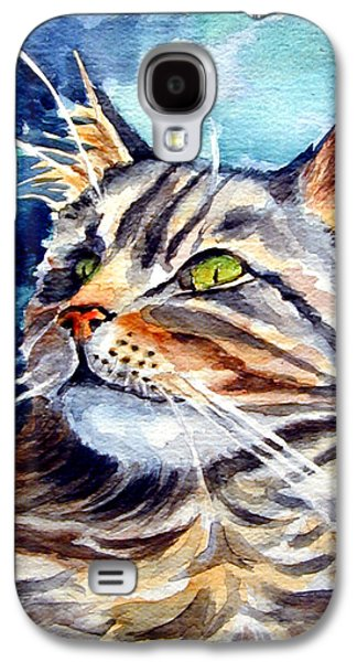 Maine Paintings Galaxy S4 Cases - Maine Coon Cat Galaxy S4 Case by Lyn Cook