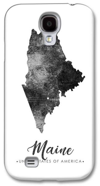 Maine State Map Art - Grunge Silhouette Galaxy S4 Case