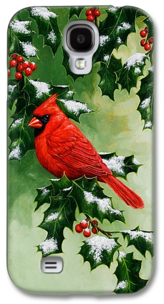 Male Cardinal And Holly Phone Case Galaxy S4 Case by Crista Forest
