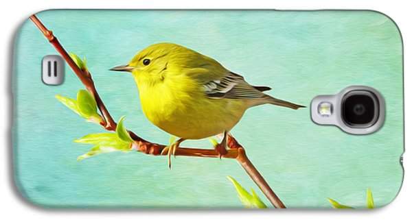 Warbler Galaxy S4 Case - Male Pine Warbler On Forsythia Branch by Laura D Young