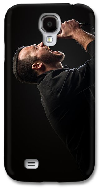 Male Singer Singing In Mic Galaxy S4 Case by Johan Swanepoel