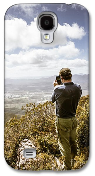 Male Tourist Taking Photo On Mountain Top Galaxy S4 Case