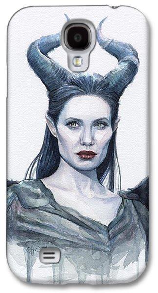 Maleficent Watercolor Portrait Galaxy S4 Case by Olga Shvartsur