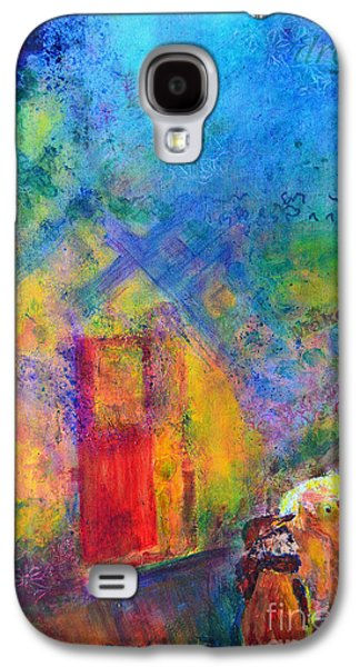 Galaxy S4 Case featuring the painting Man And Horse On A Journey by Claire Bull