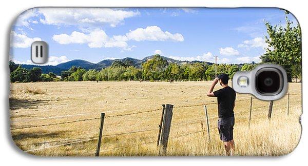 Man Enjoying A Rural Farm Landscape In Hobart Galaxy S4 Case