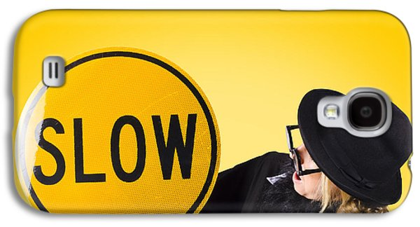 Man Holding Slow Sign During Adverse Conditions Galaxy S4 Case by Jorgo Photography - Wall Art Gallery