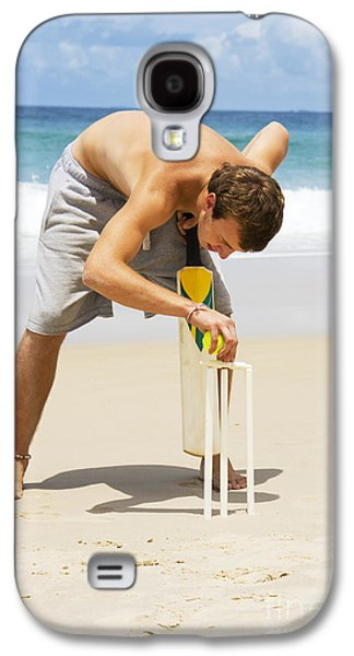 Man Playing Beach Cricket Galaxy S4 Case by Jorgo Photography - Wall Art Gallery
