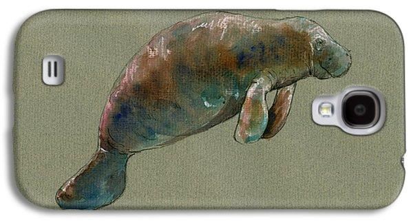 Manatee Watercolor Art Galaxy S4 Case by Juan  Bosco
