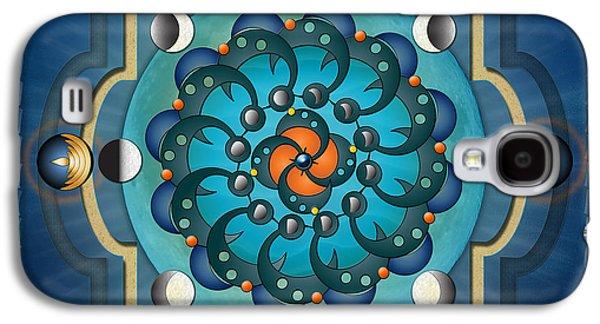 Mandala Moon Phases Galaxy S4 Case by Bedros Awak