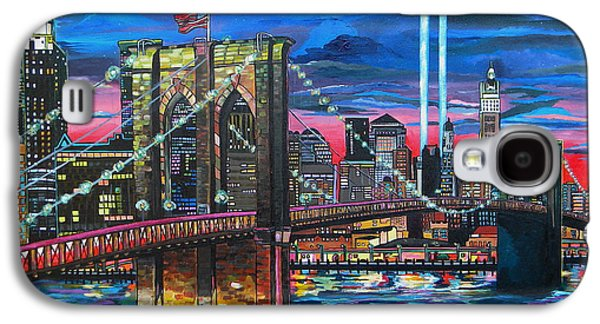 Skylines Paintings Galaxy S4 Cases - Manhattan Kinda Night Galaxy S4 Case by Patti Schermerhorn