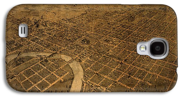 Map Of Columbus Ohio Vintage Street Schematic Birds Eye View On Worn Parchment Galaxy S4 Case by Design Turnpike