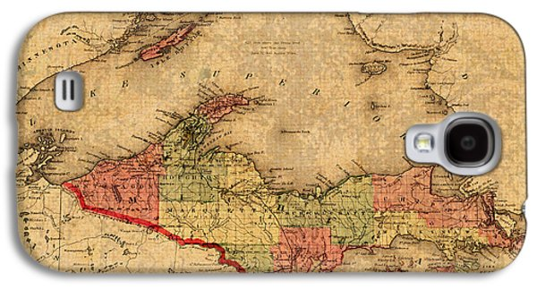 Map Of Michigan Upper Peninsula And Lake Superior Vintage Circa 1873 On Worn Distressed Canvas  Galaxy S4 Case by Design Turnpike