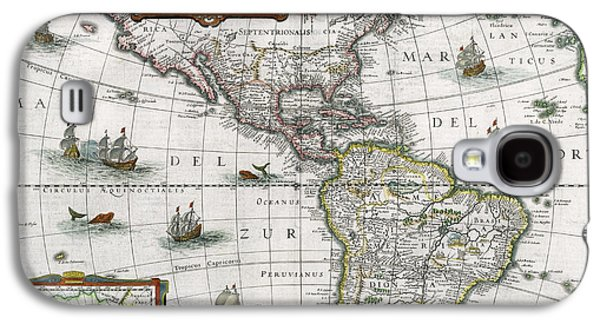Map Of The Americas Galaxy S4 Case by Henricus Hondius