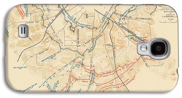 Map Of The Battle Of Nashville - American Civil War Galaxy S4 Case by Mountain Dreams