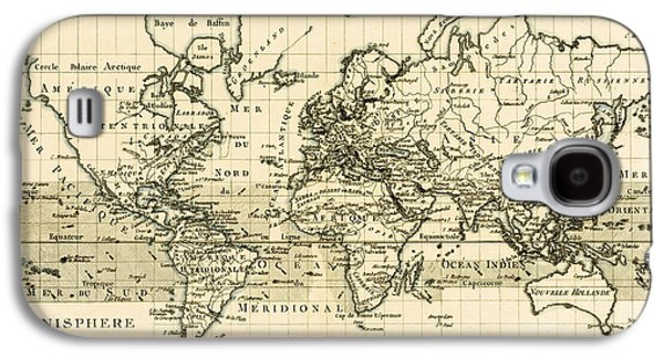 Map Of The World Using The Mercator Projection Galaxy S4 Case by Guillaume Raynal