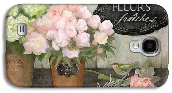 Marche Aux Fleurs 2 - Peonies N Hydrangeas W Bird Galaxy S4 Case by Audrey Jeanne Roberts