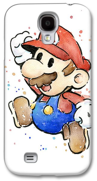 Mario Watercolor Fan Art Galaxy S4 Case by Olga Shvartsur
