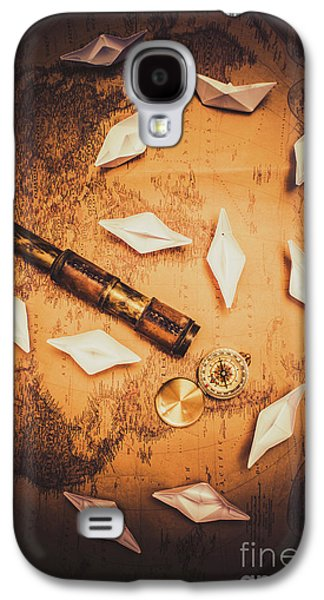 Maritime Origami Ships On Antique Map Galaxy S4 Case by Jorgo Photography - Wall Art Gallery