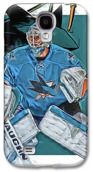 Martin Jones San Jose Sharks Oil Art Galaxy S4 Case by Joe Hamilton