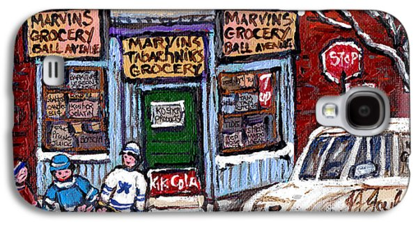 Marvins And Tabachnicks Grocery With J J Joubert Milk Truck Ball Ave Park Ex Montreal Memories Art Galaxy S4 Case by Carole Spandau