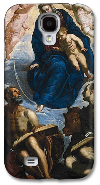 Mary With The Child, Venerated By St. Marc And St. Luke Galaxy S4 Case by Tintoretto