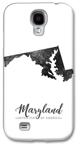 Maryland State Map Art - Grunge Silhouette Galaxy S4 Case