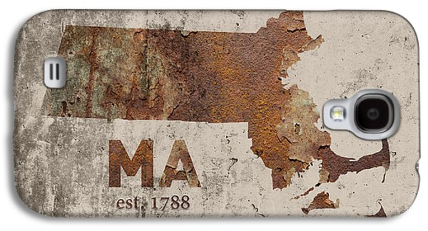 Massachusetts State Map Industrial Rusted Metal On Cement Wall With Founding Date Series 016 Galaxy S4 Case by Design Turnpike