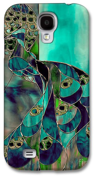 Peacock Galaxy S4 Case - Mating Season Stained Glass Peacock by Mindy Sommers