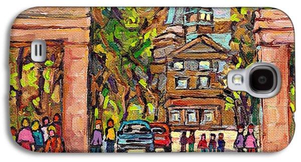 Mcgill Gates  Entrance Of Mcgill University Montreal Quebec Original Oil Painting Carole Spandau Galaxy S4 Case by Carole Spandau