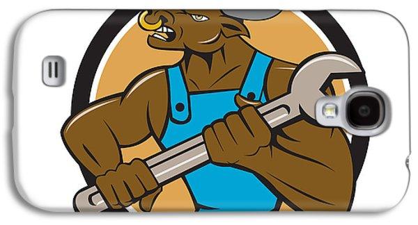 Minotaur Galaxy S4 Case - Mechanic Minotaur Bull Spanner Circle Cartoon by Aloysius Patrimonio