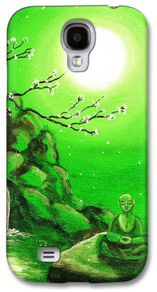 Meditating While Cherry Blossoms Fall In Green Galaxy S4 Case