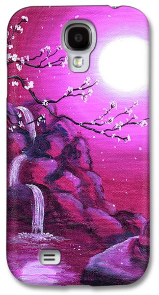 Buddhist Paintings Galaxy S4 Cases - Meditating while Cherry Blossoms Fall Galaxy S4 Case by Laura Iverson