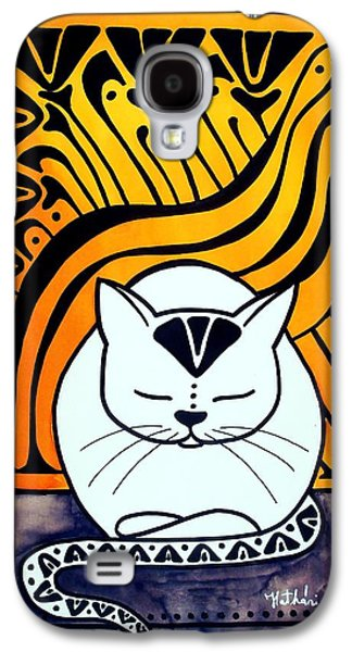 Galaxy S4 Case featuring the painting Meditation - Cat Art By Dora Hathazi Mendes by Dora Hathazi Mendes