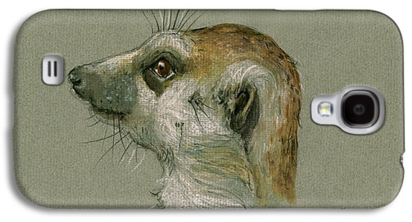 Meerkat Or Suricate Painting Galaxy S4 Case by Juan  Bosco