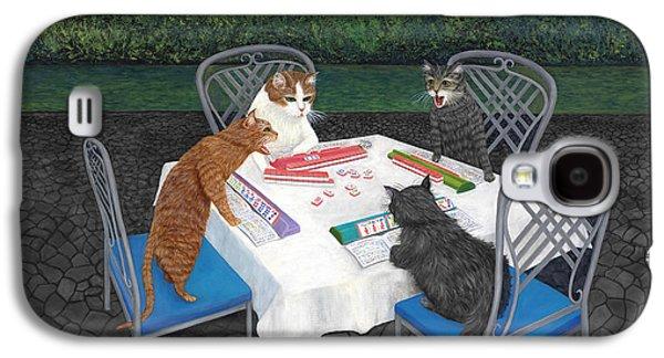 Dragon Galaxy S4 Case - Meowjongg - Cats Playing Mahjongg by Karen Zuk Rosenblatt