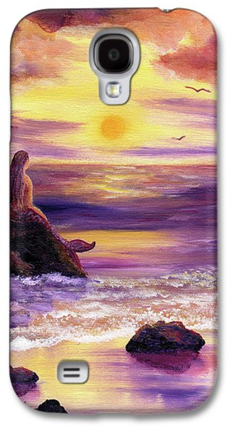 Purple Paintings Galaxy S4 Cases - Mermaid in Purple Sunset Galaxy S4 Case by Laura Iverson