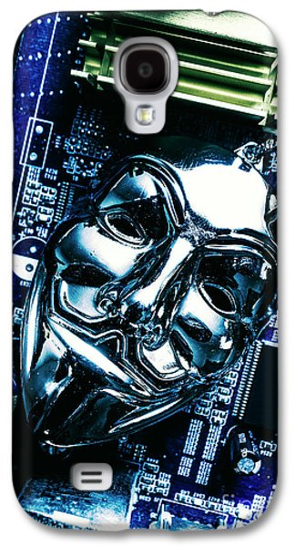 Metal Anonymous Mask On Motherboard Galaxy S4 Case by Jorgo Photography - Wall Art Gallery