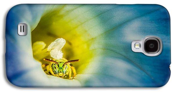 Metallic Green Bee In Blue Morning Glory Galaxy S4 Case