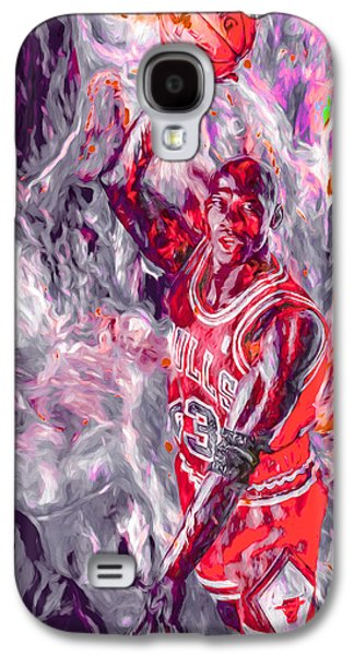 Michael Jordan Chicago Bulls Digital Painting Galaxy S4 Case by David Haskett