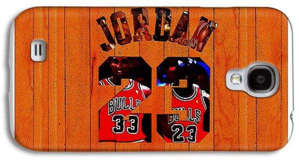 Michael Jordan Wood Art 1b Galaxy S4 Case by Brian Reaves