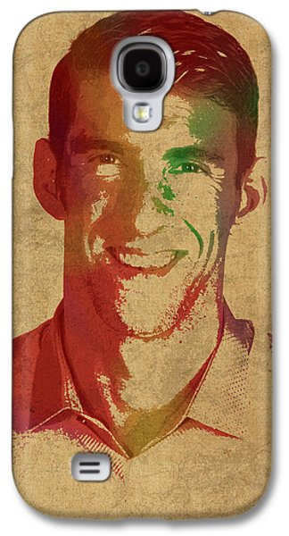 Michael Phelps Swimmer Olympian Watercolor Portrait Galaxy S4 Case by Design Turnpike
