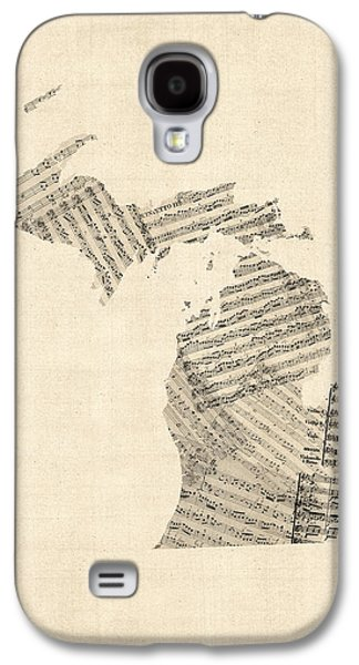 Michigan Map, Old Sheet Music Map Galaxy S4 Case by Michael Tompsett