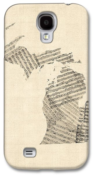 Michigan Map, Old Sheet Music Map Galaxy S4 Case