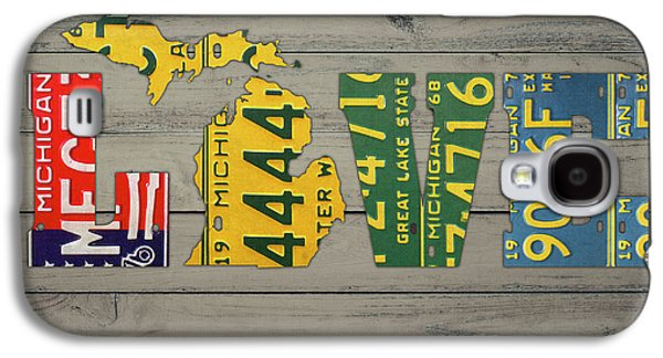 Michigan State Galaxy S4 Case - Michigan State Love Heart License Plates Art Phrase by Design Turnpike