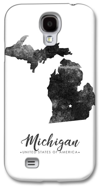 Michigan State Map Art - Grunge Silhouette Galaxy S4 Case