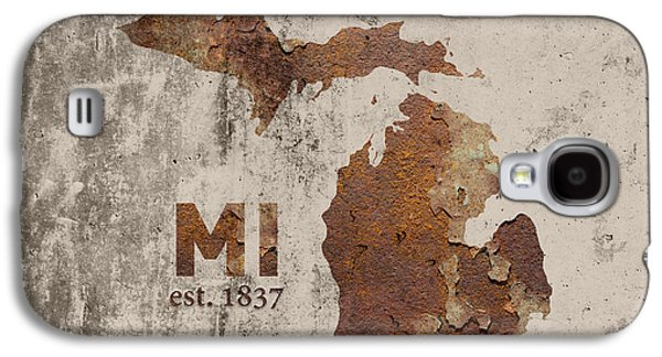 Michigan State Map Industrial Rusted Metal On Cement Wall With Founding Date Series 005 Galaxy S4 Case by Design Turnpike