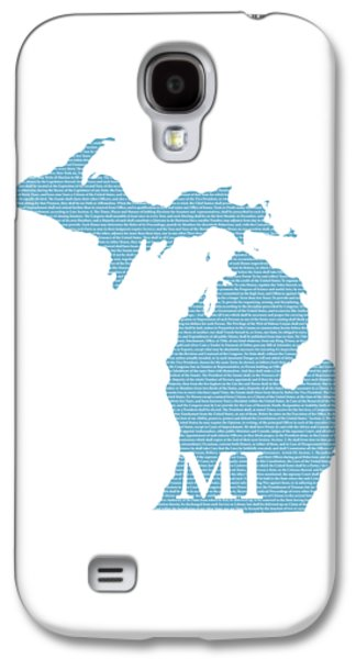 Michigan State Galaxy S4 Case - Michigan State Map With Text Of Constitution by Design Turnpike