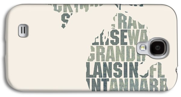 Michigan State Galaxy S4 Case - Michigan State Outline Word Map by Design Turnpike